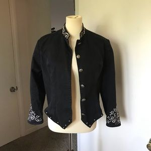 Cool vintage, black denim, embroidered jacket